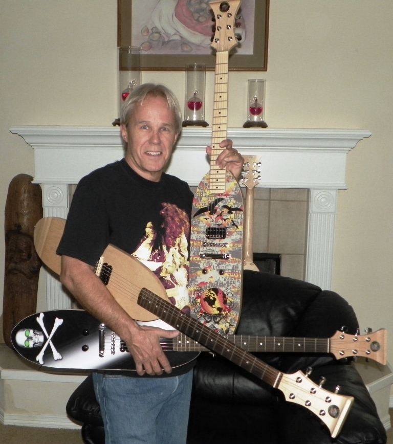 Nick with some of his Skateboard Guitars®