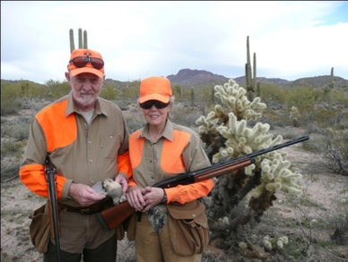 John and wife Bette collecting Gambles Quail in Arizona Sonoran Desert