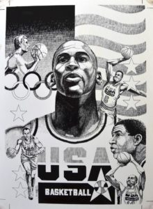 USA Basketball Team members 1992 by Jeff Slemons
