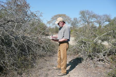 John sketching the details in the natural bush in Africa
